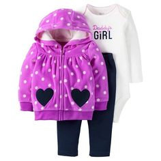 Just One You™Made by Carter's® Baby Girls' 3 Piece Daddy's Girl Set - Purple/Navy : Target