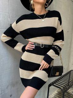 Striped Drop Shoulder Sweater Dress Without Belt | SHEIN EUR