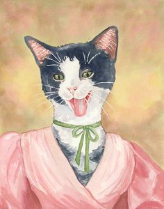 Cat Painting Watercolour  Original Art Costume by WaterInMyPaint, $115.00