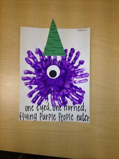 Flying purple people eater. Halloween craft for kids