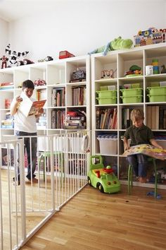 Design Solutions for Shared Kids Bedrooms.Using a physical gate to divide up a room might seem extreme, but it could be a smart, temporary solution for roomies with a significant age gap Ikea Kids Room, Kids Bedroom, Sister Bedroom, Room Boys, Child Room, Kid Rooms, Bedroom Ideas, Creative Kids Rooms, Baby Gates