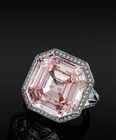 Pink Asscher Cut Diamond ring