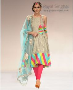 "Payal Singhal's ash grey Benarsi suit with net dupatta.    From ""Colors of India"" runway show"