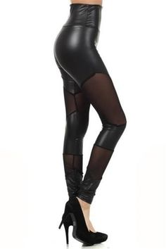 High Waist M 6 8 Sheer Panel Leggings Faux Leather Pants Clubwear Womens Skinny #leather #leggings #tights www.loveitsomuch.com