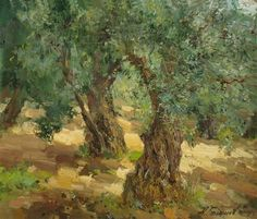 Oil Paintings by Contemporary Russian Artist Azat Galimov ~ Artists and Art Abstract Landscape, Landscape Paintings, Oil Paintings, Scenary Paintings, Olive Tree, Fantastic Art, Tree Art, Watercolor Art, Scenery