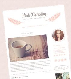 Premade Blogger Template - Blog Template - Blogger Design - Cute Blog Theme - Hand Drawn Feathers - Pink and Taupe - Pink Dorothy by mlekoshiPlayground on Etsy