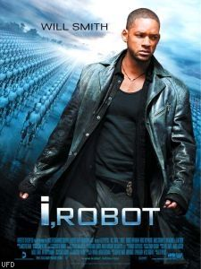 This is the film poster for I, Robot. Just by looking at this poster you can see the serious nature of Detective Del Spooner, played by Will Smith, towards the robots in the background. Del Spooner hates robots and is the detective covering the robot murder case against Dr. Alfred/ alleged homicide.