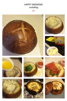 Breakfast time!!! Solo toma un pan, sacale el relleno, báñalo con mantequilla derretida y ponle los vegetales, queso, tocineta que quieras, remata con 1 o 2 huevos segun eñ tamaño del pan y coloca al horno por 20 minutos....