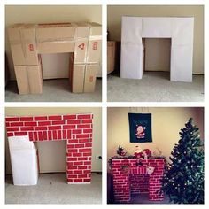 Build a cardboard fireplace to hang your Christmas stockings christmas fireplace Top 30 Lovely and Cheap DIY Christmas Crafts Sure to Wow You - HomeDesignInspired Christmas Hacks, Noel Christmas, Christmas Projects, Winter Christmas, Christmas Room, Christmas Program, Father Christmas, Diy Christmas Boxes, Tv Stand Christmas Decor