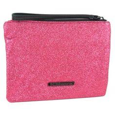 BCBGeneration Lipstick Pink Darla Glitter Clutch Wristlet www.BagLane.com