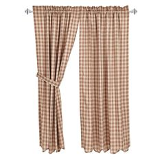 $39.95 VHC Brands Bradley Curtain Panel Pair plaid in brown and khaki