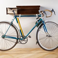 Commuter Organizer Walnut White by Brad Reed Nelson Bike Hanger, Bike Rack, Hangers, Vase Rouge, Garage Velo, Vintage Wooden Crates, Vintage Cycles, Commuter Bike, Bike Storage