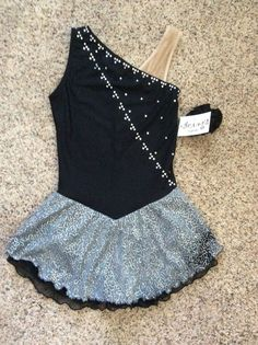Figure Skating Dress with sequins skirt and really cute crystal pattern