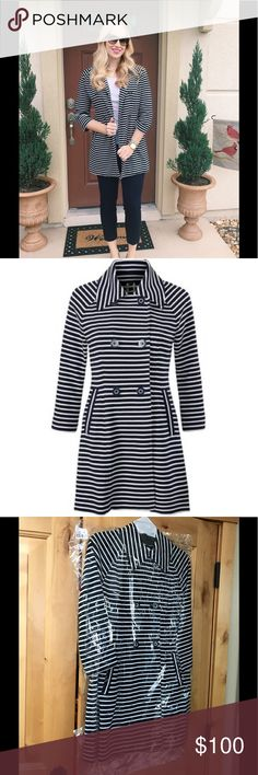 Cabi Spring 2017 Maritime Trench #5151 NWT Brand new Cabi coat never been taken out of the original bag. Navy and white striped, beautifully detailed. CAbi Jackets & Coats Trench Coats
