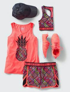 I know this is for little girls, (too bad), but I love the colors and whimsy!Active Outfits For Girls - Girls' Gym Outfits Sporty Outfits, Athletic Outfits, Kids Outfits, Summer Outfits, Cute Outfits, Gym Outfits, Fitness Outfits, Athletic Clothes, Fitness Shirts