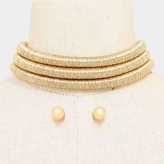 "11"" silver 3 row layer metallic choker collar bib coil necklace .35"" earrings"