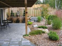 Under Deck:  I like the landscaping leading to the yard - would keep grass away from pavers