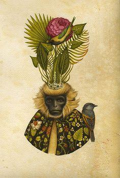 Шинуазри Линдси Карр: стилизованные цветы, птицы и обезьяны - Ярмарка Мастеров - ручная работа, handmade