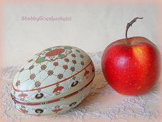 Tin Easter egg box candy container vintage by ShabbyGoesLucky