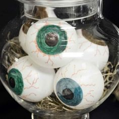 Add some fright to the night with these spooky eyeballs made from ping pong balls and permanent markers.