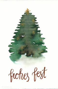 Last Minute Karten zu Weihnachten selber machen | Watercolor Christmas Card with Tree