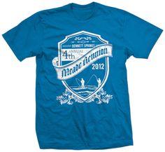 Shirt Kong: #reunion #sapphire #tshirt #screenprinting #crest #shield #family #meade #ribbon #whiteink