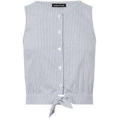 Warehouse Stripe Cotton Tie Front Top found on Polyvore featuring tops, shirts, blouses, crop top, striped, sleeveless shirts, striped shirt, striped button-down shirts and tie front shirt
