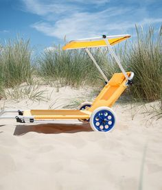 Product information: RRP 49.99                           Delivery FREE MaterialPVC coated cotton Colour Lemon Yellow Dimensions(L X W)102cm X 54cmWeight4.3kg Description: Take everything you need for your family to the beach and then relax. The bright yellow beach sun lounger trolley exudes summer fun. The smooth rimmed white and blue wheels compliment the yellow fabric offering a stylish and practical beach transporter.Product SpecificationsSize(L X W): 102cm X 54cmSunshade: H73cmFabric…