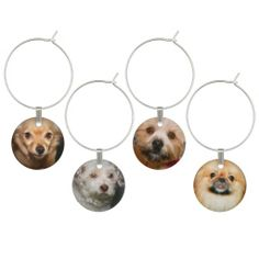 SMALL FLUFFY DOGS WINE GLASS CHARMS