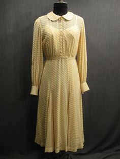 09035399 09035300  Dress Womens 1930s yellow swiss dot chiffon B36 W28.JPG
