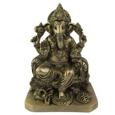 Amazon.com: Statue Ganesh Statues and Sculptures Metal Brass 5 X 3.5 X 7 Inches: Home & Kitchen
