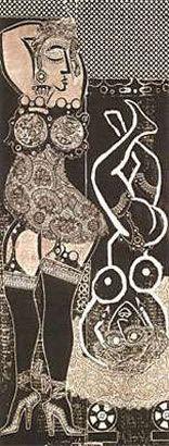 Antonio Berni. Ramona pupila, 1963, xilocollage, 157 x 65 cm. Col. privada