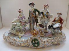 """Large Sitzendorf Porcelain Figural Group Centerpiece 20"""" #Sitzendorf"""