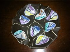 Items similar to Reserved Bay Keramik Decor name Kongo small bowl or plate scalloped sides on Etsy Small Bowl, Vintage Pottery, 1950s, Plates, Ceramics, Unique Jewelry, Handmade Gifts, Etsy, Decor