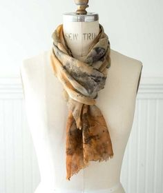 Eco-print merino wool scarves by artist Paula Rindal. Sophisticated, sylvan color palette is naturally pulled from leaves, twigs, seeds from Bainbridge island.