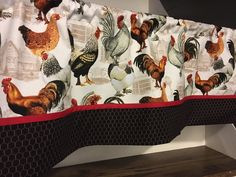 Excited to share this item fron sewkraftykristines etsy shop: Rooster chicken wire barn farm red black and gold valance