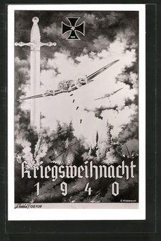 War Christmas, old postcard: Künstler-AK Kriegsweihnacht 1940, Kampfflugzeuge beim Bombenwurf, Eisernes Kreuz mit Hakenkreuz, Schwert