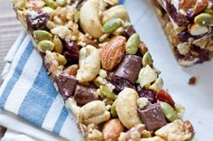 Tart Cherry, Dark Chocolate, Cashew Granola Bars ~ I'd substitute something else for the cherries, but this looks good