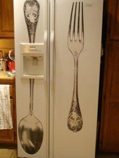 Lovely Little Vignettes: Cool Refrigerator Decal Paint Refrigerator, Painted Fridge, Painted Appliances, Retro Fridge, Diy Home Furniture, Wall Drawing, Vinyl Wallpaper, Kitchen Pantry, Kitchen Ideas