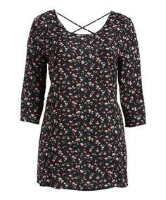 Black Floral Crisscross Long-Sleeve Tunic - Plus