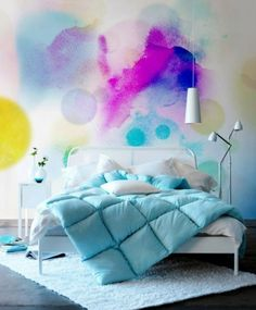 Light blue bed cover and wall art inspiration
