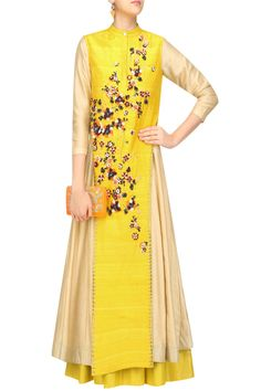 Mustard and beige anarkali and jacket set available only at Pernia's Pop Up Shop. #happyshopping #shopnow #ppus