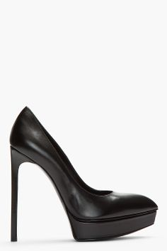 Saint Laurent Black Leather Classic Janis Platform Pumps for women