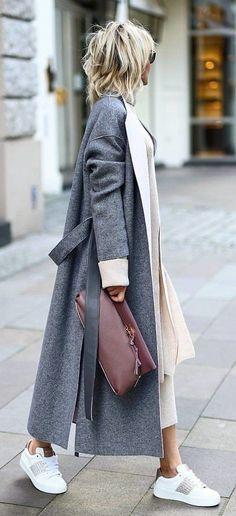 #fall #outfits  women's grey coat