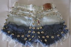 High waist destroyed Blue ombre denim shorts super frayed and studs size Sm
