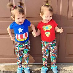 GIRL POWER!! • If I were 2-3 years old, I'd want twins, Allie & Audrey, to be my besties. They're always laughing and having a blast (oh, I'm sure they have their moments, don't we all?) and we'd totally get into such mischief. • The girls are rocking their super hero outfits and they are wearing our Moo G Simple Clippies- simply lined no slip alligator clips- in some basic bold polka dots. These clips were part of a gift set in our ClipScrip™ a couple of months ago. They're great for babies…