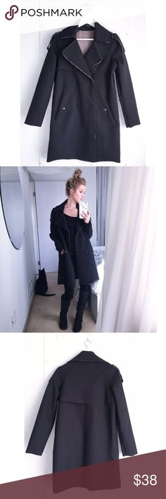 Nasty Gal Black trench coat Who doesn't love a good oversized trench!? Fun texture - used once - beautiful condition. Nasty Gal Jackets & Coats Trench Coats