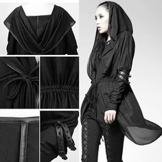 Designer Black Hooded Dolman Sleeve Goth Boho Hipster Long Jacket Women SKU-11401424