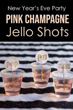 This pink champagne jello shots recipe is to die for! I can't wait to make it for my New Year's Eve party. This pink champagne jello shots recipe is to die for! I can't wait to make it for my New Year's Eve party. New Years Eve Drinks, New Year's Drinks, New Year's Eve Cocktails, Holiday Drinks, Holiday Recipes, Pink Party Drinks, New Years Eve Party Ideas For Adults, New Years Eve Dessert, New Years Eve Games