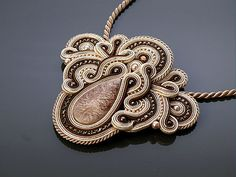 Beige brown Soutache necklace. by ANBijou on Etsy